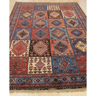 Hand-knotted Wool Rust Traditional Geometric Yalameh Rug - 5' 1 x 7' 5