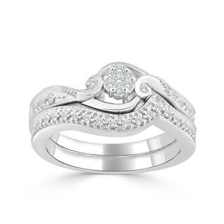 Auriya 14k Gold 1/4ct TDW Diamond Cluster Bridal Ring Set (H-I, I1-I2) - White H-I