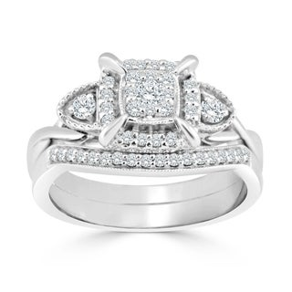 Auriya 14k Gold 3/8ct TDW Diamond Cluster Halo Bridal Ring Set (H-I, I1-I2) - White H-I