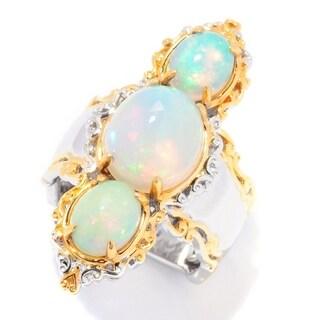 Michael Valitutti Palladium Silver Ethiopian Opal Three-Stone Elongated Ring - White