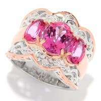 Michael Valitutti Palladium Silver Pink Topaz Three-Stone Scalloped Edge Band Ring