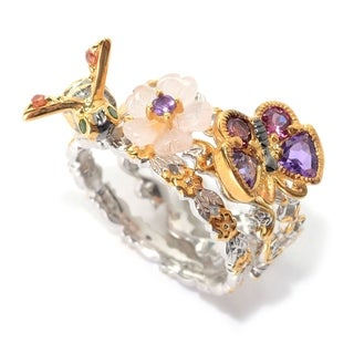 Michael Valitutti Palladium Silver Set of Three Multi Gemstone Bee, Flower & Butterfly Stack Band Rings - Pink