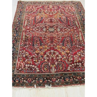 Hand-knotted Wool Red Traditional Floral Sarouk Rug - 3' 3 x 4' 9