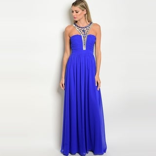 Shop The Trends Women's Sleeveless Gown With Jeweled Grecian Neckline And Zipper Closure