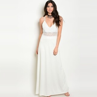 Shop The Trends Women's Spaghetti Strap Maxi Gown With Lace Top And V-Neckline