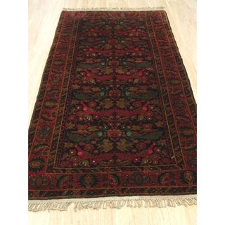 Hand-knotted Wool Navy Traditional Geometric Baluchi Rug (3' 4 x 6' 4)