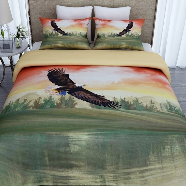 3D Printed Eagle Cotton Duvet Cover with 2 Pillowcases