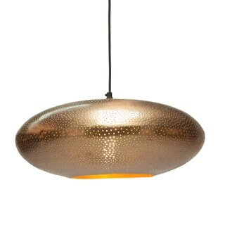 Antique Brass Perforated Metal Pendant by World Interiors