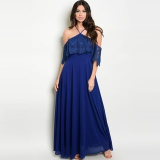 Shop The Trends Women's Spaghetti Strap Off Shoulder Maxi Gown With Crochet Lace Neckline