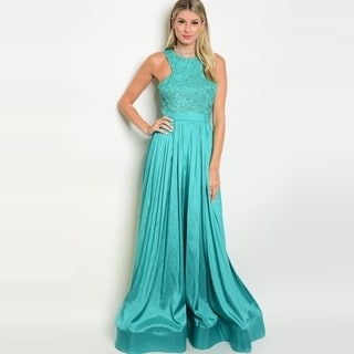 Shop The Trends Women's Sleeveless A-Line Taffeta Gown With Lace Detailed Top