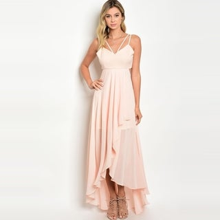 Shop The Trends Women's Spaghetti Strap High Low Gown With Asymmetric Hem And Chiffon Skirt