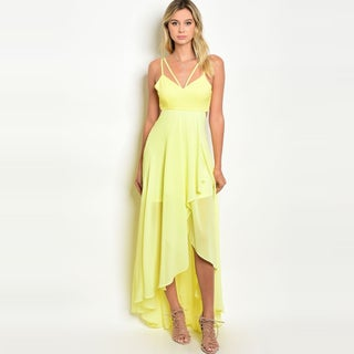 Shop The Trends Women's Spaghetti Strap High Low Gown With Asymmetric Hem And Chiffon Skirt (3 options available)