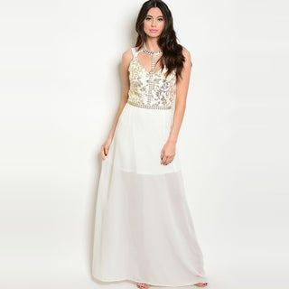 Shop The Trends Women's Sleeveless A-Line Chiffon Gown With Beaded Neck And Sequin Detailing (Option: S)