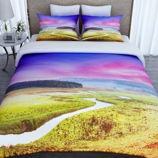 3D Printed Flowing River Cotton Duvet Cover with 2 Pillowcases