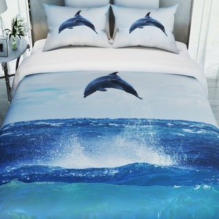 3D Printed Cotton Duvet Cover with 2 Pillowcases-Dolphine