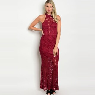 Shop The Trends Women's Sleeveless Maxi Lace Dress With Mock Neckline