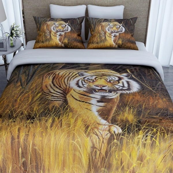 3D Printed Cotton Duvet Cover with 2 Pillowcases-Tiger