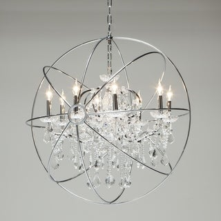 Stainless Steel and Crystal 9-Light Chandelier by World Interiors