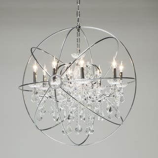 Stainless steel ceiling lights for less overstock stainless steel and crystal 9 light chandelier by world interiors aloadofball Images