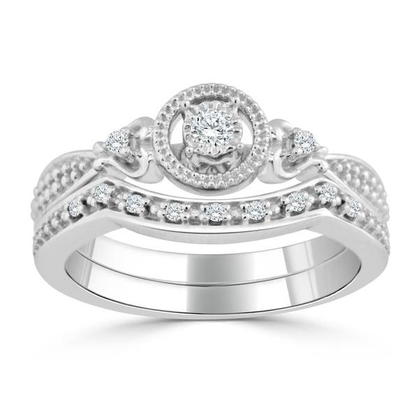Auriya 14k Gold 1/4ct TDW Round Diamond Engagement Ring Set