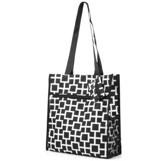 Zodaca Black/ White Geometric Lightweight All Purpose Handbag Zipper Carry Tote Shoulder Bag for Travel Shopping