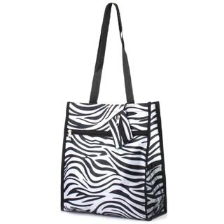 Zodaca Zebra Lightweight All Purpose Handbag Zipper Carry Tote Shoulder Bag for Travel Shopping