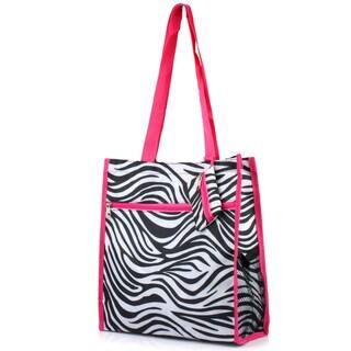 Zodaca Zebra Pink Trim Lightweight All Purpose Handbag Zipper Carry Tote Shoulder Bag for Travel Shopping