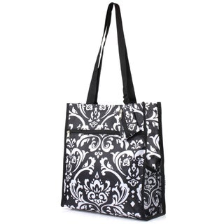 Zodaca Damask Lightweight All Purpose Handbag Zipper Carry Tote Shoulder Bag for Travel Shopping