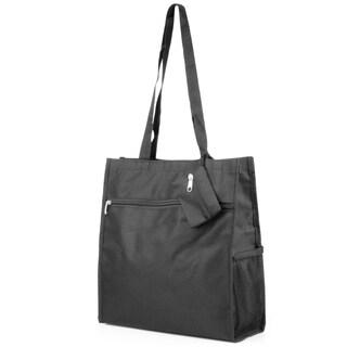 Zodaca Solid Black Lightweight All Purpose Handbag Zipper Carry Tote Shoulder Bag for Travel Shopping