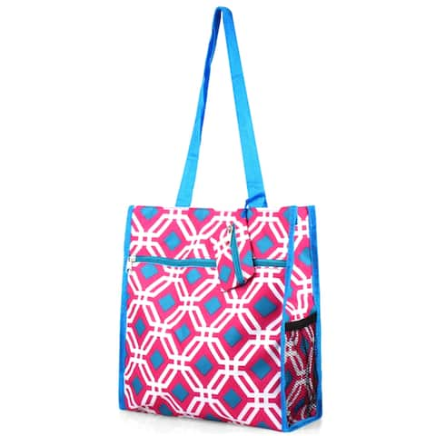 Zodaca Pink Graphic Lightweight All Purpose Handbag Zipper Carry Tote Shoulder Bag for Travel Shopping