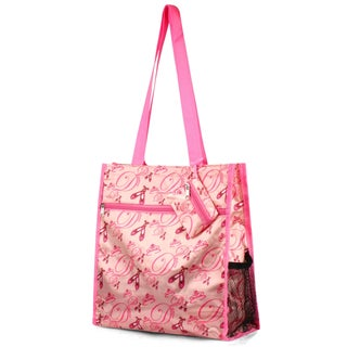 Zodaca Pink Ballet Lightweight All Purpose Handbag Zipper Carry Tote Shoulder Bag for Travel Shopping