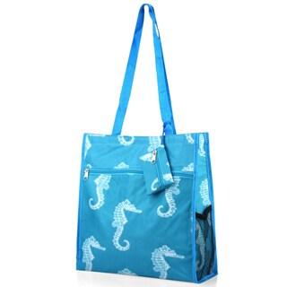 Zodaca Blue Seahorse Lightweight All Purpose Handbag Zipper Carry Tote Shoulder Bag for Travel Shopping