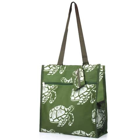 Zodaca Green Turtle Lightweight All Purpose Handbag Zipper Carry Tote Shoulder Bag for Travel Shopping