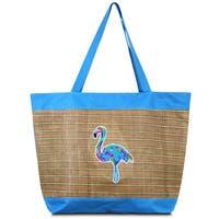 Zodaca Blue Flamingo lightweight Large Beach Handbag Zip Top Closure Carry Tote Shoulder Bag for Travel Outgoing