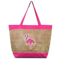 Zodaca Pink Flamingo lightweight Large Beach Handbag Zip Top Closure Carry Tote Shoulder Bag for Travel Outgoing
