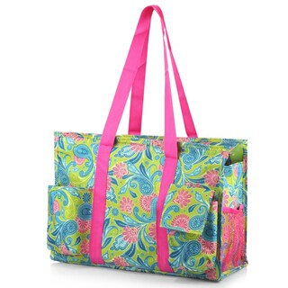 Zodaca Green Paisley Lightweight All Purpose Handbag Large Utility Shoulder Tote Carry Bag for Camping Travel Shopping