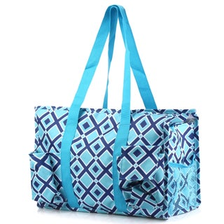 Zodaca Navy/ Turquoise Lightweight All Purpose Handbag Large Utility Shoulder Tote Carry Bag for Camping Travel Shopping