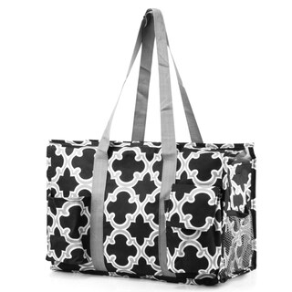Zodaca Black Lightweight All Purpose Handbag Large Utility Shoulder Tote Carry Bag for Camping Travel Shopping