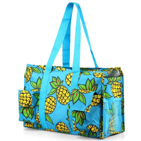 Zodaca Pineapple Print Lightweight All Purpose Handbag Large Utility Shoulder Tote Carry Bag for Camping Travel Shopping