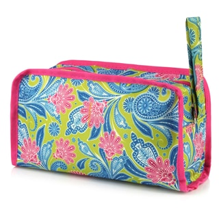 Zodaca Green Pink Paisley Womens Travel Cosmetic Bag Multifunction Toiletry Pouch Makeup Organizer Zip Storage Case