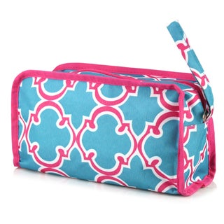 Zodaca Pink Quatrefoil Womens Travel Cosmetic Bag Multifunction Toiletry Pouch Makeup Organizer Zip Storage Case