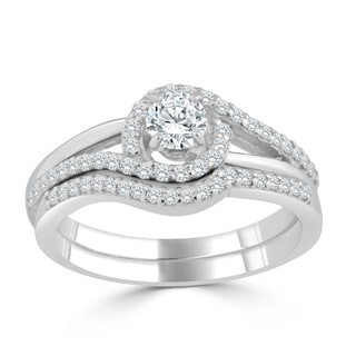 Auriya 14k Gold 1/2ct TDW Diamond Swirl Halo Bridal Ring Set