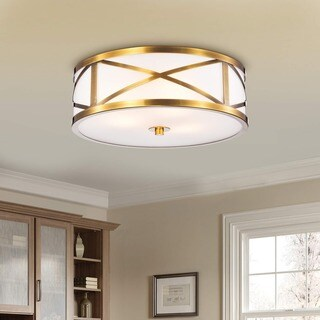 Blanca Metallic Goldtone Metal 'X' Shape Frame 3-light Glass Drum Shade Flush Mount Fixture