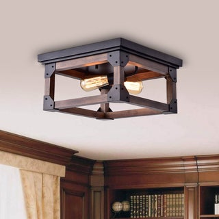 Link to Larissa Black Wood Industrial Square 2-light Flush-mount Fixture - N/A Similar Items in Semi-Flush Mount Lights