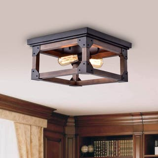 Larissa Black Wood Industrial Square 2 Light Flush Mount Fixture
