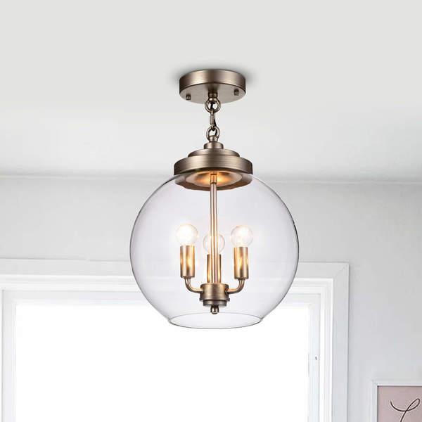 Luna Dark Antique Silver 3-Light Clear Glass Iron Semi-Flush Mount
