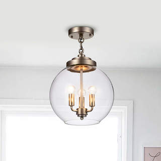 Luna Dark Antique Silver 3-Light Clear Glass Globe Iron Semi-Flush Mount