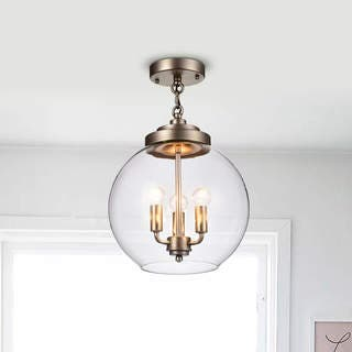 Luna Dark Antique Silver 3 Light Clear Gl Globe Iron Semi Flush Mount