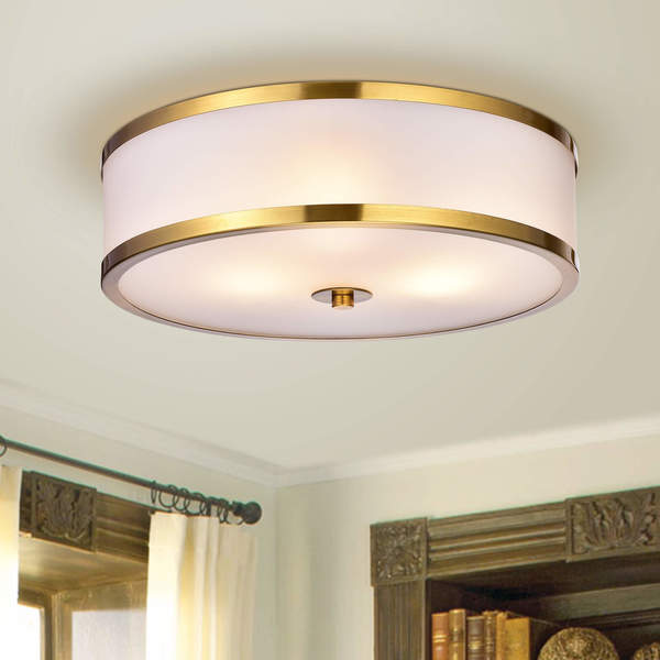 Blanca Metallic Gold With Gl Drum Shade 3 Light Flush Mount Fixture