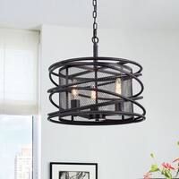 Honoria Antique Black Rebar Layer and Metal Mesh Drum Shade Pendant Chandelier